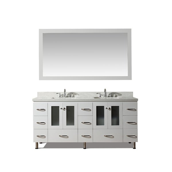 Ariel Americano White with White Quartz Countertop 73-inch Double-sink Vanity Set