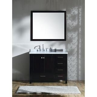 "ARIEL Cambridge 43"" Left Offset Single Rectangle Sink Vanity Set in Espresso"