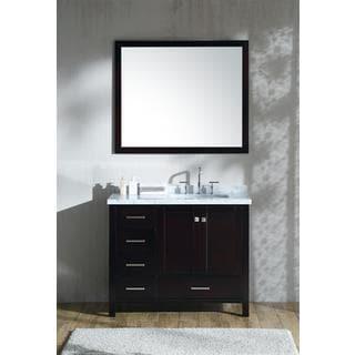 "ARIEL Cambridge 43"" Right Offset Single Rectangle Sink Vanity Set in Espresso"