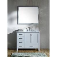 "ARIEL Cambridge 43"" Right Offset Single Rectangle Sink Vanity Set in Grey"