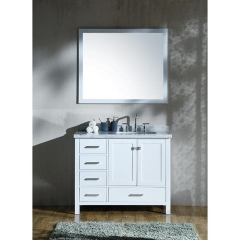 "ARIEL Cambridge 43"" Right Offset Single Rectangle Sink Vanity Set in White"