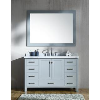 Ariel Cambridge Grey Wood 55-inch Single Rectanglar Sink Vanity Set with Mirror