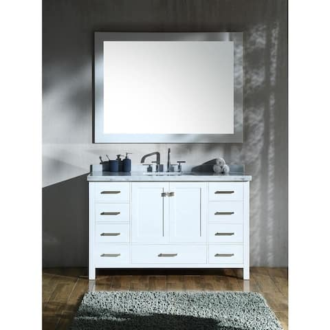Ariel Cambridge White Wood 55-inch Rectangular Single Sink Vanity Set