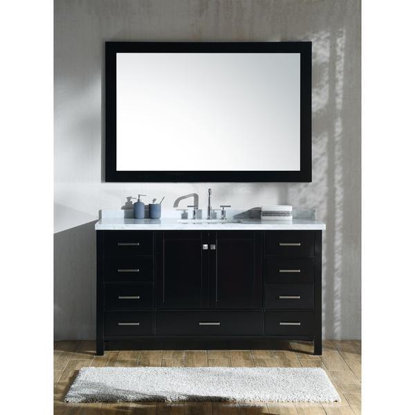 Ariel Cambridge Brown Wood 61-inch Single-sink Vanity Set