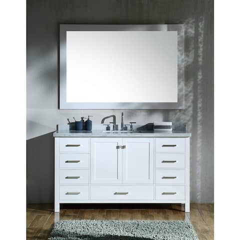 Ariel Cambridge White 61-inch Single Rectangle Sink Vanity Set