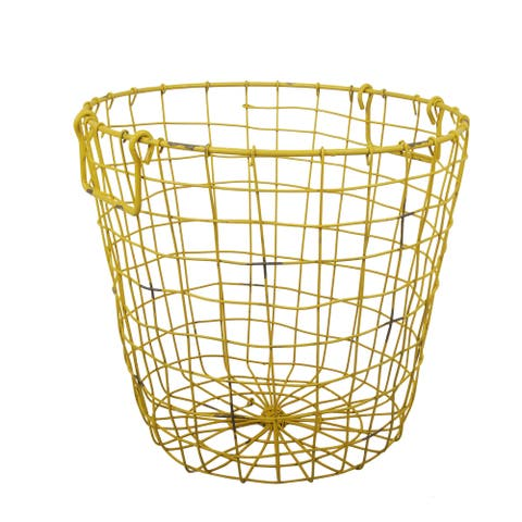 Grafton Antique Yellow Wire 14-inch x 13-inch Round Basket