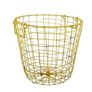 Grafton Antique Yellow Wire 14-inch x 13-inch Round Basket