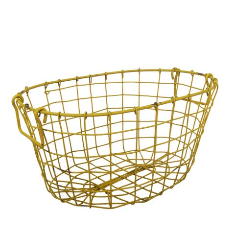 Grafton Oval Antique Yellow Wire 16x11x7.5-inch Basket