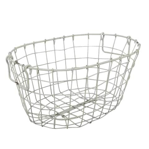 Grafton Antique White Metal Wire Oval Basket