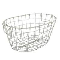 Grafton Antique White Metal Wire Oval Basket
