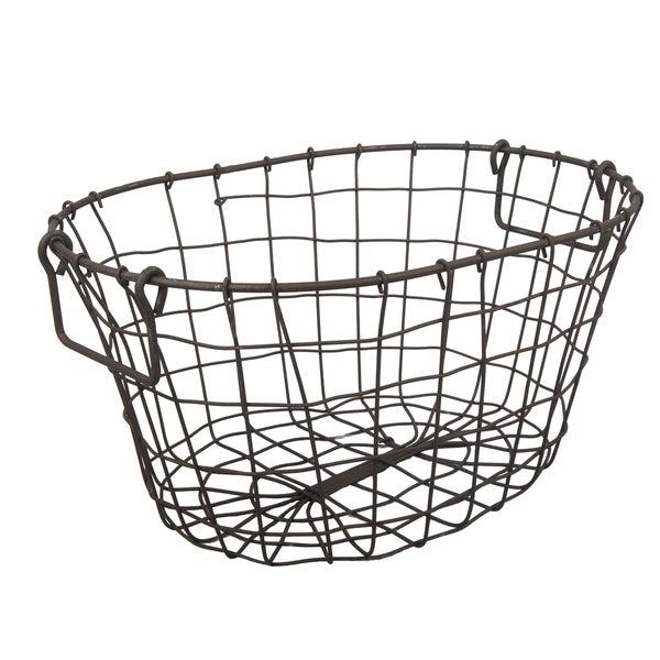 Shop Grafton Rust Metal Oval Wire Basket 16 In
