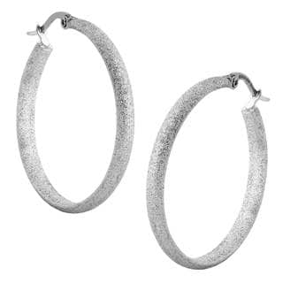 Stainless Steel 30 mm Textured Hoop Earrings