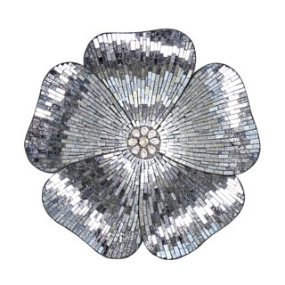 Grey Glass 22-inch High Mosaic Flower Wall Decor
