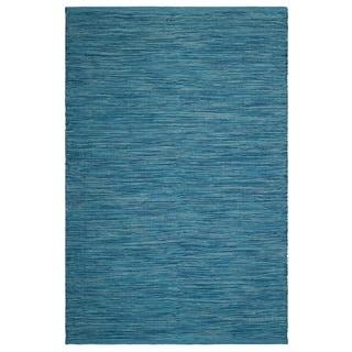 Handmade Indoor/Outdoor Cancun Indoor/Outdoor Rug - Blue (India) - 6' x 9'