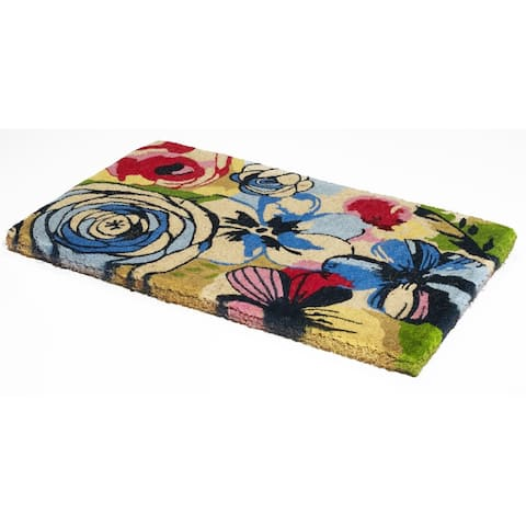 Handmade Watercolor Floral Extra Thick Doormat (India) - 2' x 3'