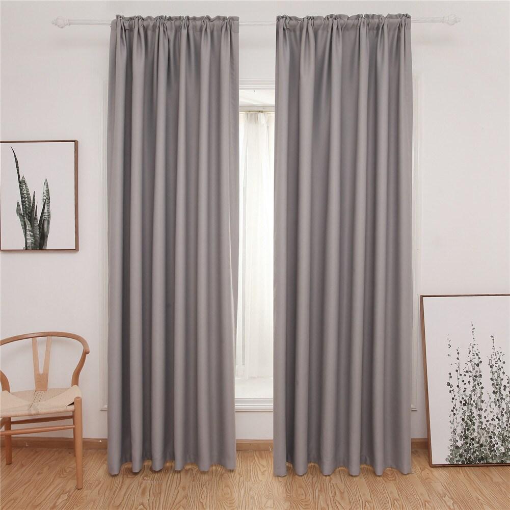 Dreaming Casa Rod Pocket Solid Blackout Bedroom Curtain Panel Pair
