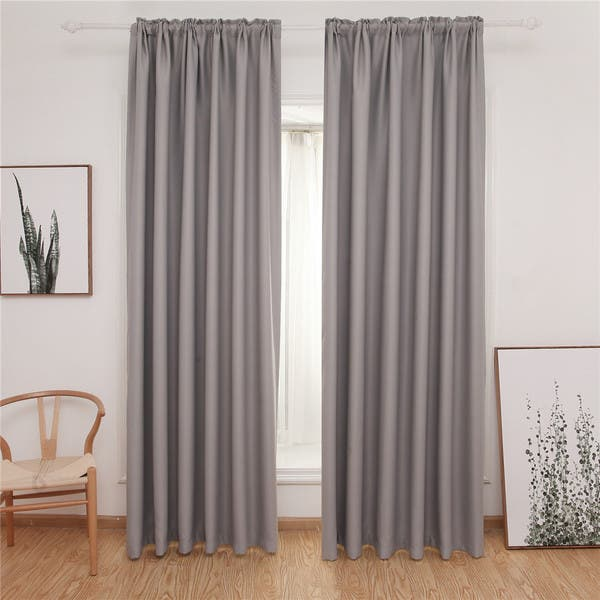 Shop Dreaming Casa Rod Pocket Solid Blackout Bedroom Curtain ...