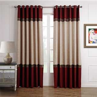 Dreaming Casa Beige-Burgundy Grommet Top Curtain Panel