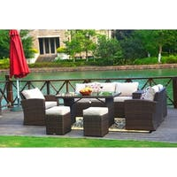 Shop Broyerk Blue Grey Rattan 10 Piece Patio Furniture Set