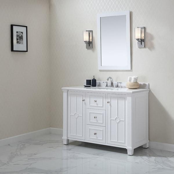 Shop OVE Decors Positano White Wood 48-inch Bathroom ...