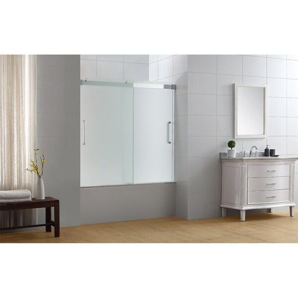 Ove Decors Beacon Double Sliding Frosted Glass Bathtub Door Set