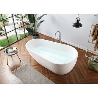 OVE Decors Scarlett White Acrylic 73-inch Seamless Freestanding Bathtub