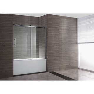 OVE Decors Zola Frosted Glass Double Sliding Bathtub Door