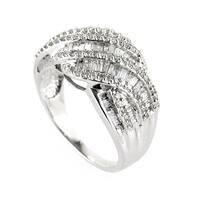 14K White Gold Braided Diamond Band Ring