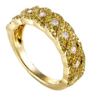 Women's 14K Yellow Gold Braided Yellow & White Diamond Band Ring IF1991