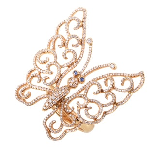 18K Rose Gold Diamond & Sapphire Butterfly Ring NE-46