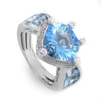 18K White Gold Topaz & Diamond Ring 21358130