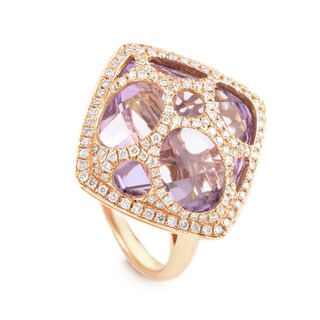 18K Rose Gold Amethyst & Diamond Ring RC8-10805RAM