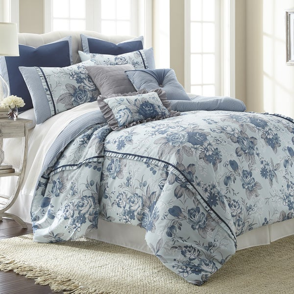 Amrapur Overseas 8-piece Floral Farmhouse comforter set