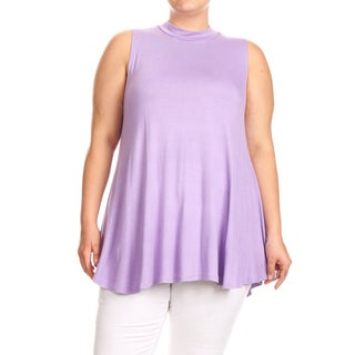 Women's Plus Size Solid Sleeveless Top with Mock Neck