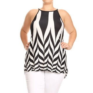 Women's Abstract Chevron Plus-size Sleeveless Top