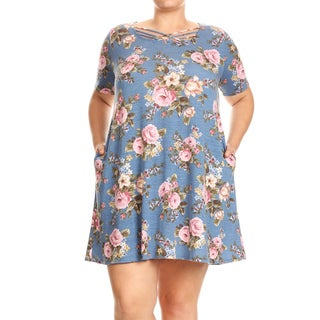 Women's Floral Jersey Knit Plus Size Dress