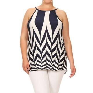 Women's Plus-size Sleeveless Chevron Tunic