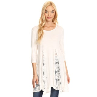 Women's Solid Lace Trim Tunic