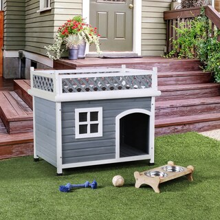 Furniture of America Clera Contemporary House Inspired Lattice Style Grey/White Pet House