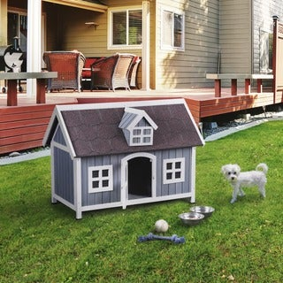 Furniture of America Fion Contemporary House Inspired Grey/White Pet House