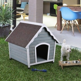 Furniture of America Dillon Contemporary House Inspired Plank Style Grey/White Pet House