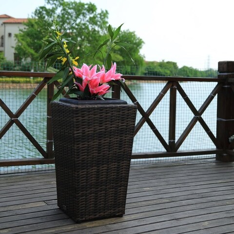 2 Pieces Square Wicker Garden Flower Plant Planters Decor Pots by Direct Wicker