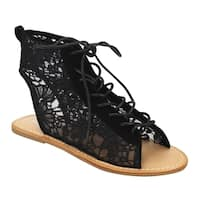 Beston DE42 Women's Floral Mesh Lace Up Flat Gladitor Ankle Sandals