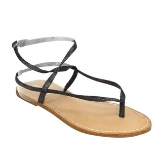 Beston DE41 Women's T-strap Thong Flat Buckle Closure Gladitor Ankle Sandals
