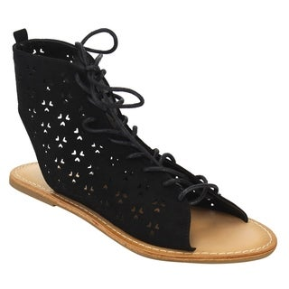 Beston DE40 Women's Perforated Laser-out Lace Up Flat Ankle Sandals