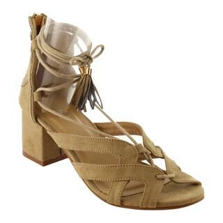 Refresh IG56 Women's Lace Up Tassel Cutout Back Zipper Wrapped Block Heel Sandal