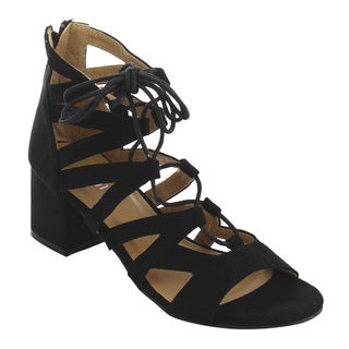 Refresh IG55 Women's Lace Up Strappy Wrapped Block Heel Sandals