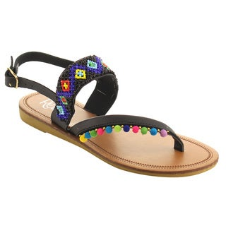Refresh IG58 Pom Pom Beaded Buckle Ankle Strap Flat Beach Sandal
