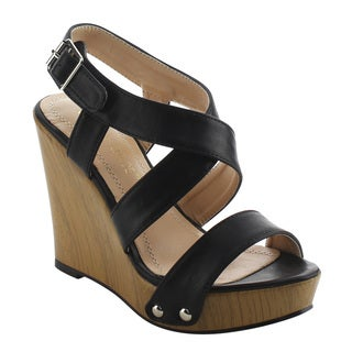 CHASE & CHLOE EH86 Women's Criss-cross Ankle Strap Wedge Sandals