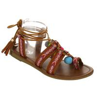 Refresh IG57 Women's Bohemian Pom Pom Aztec Print Lace Up Tassel Beach Sandal